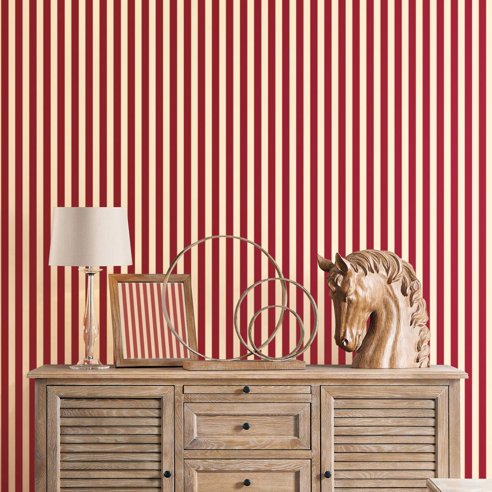Formal Stripe Wallpaper - Red / Ivory / Gold  - by Galerie