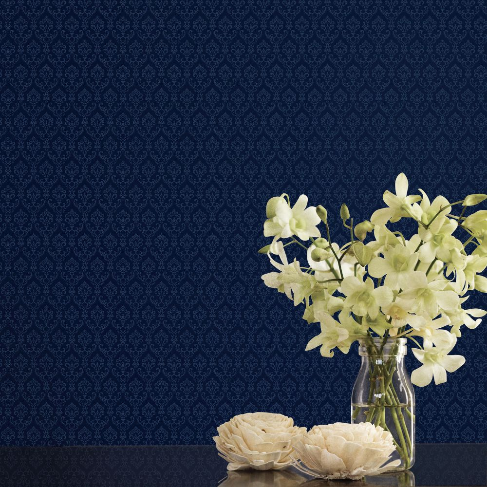 Small Damask Wallpaper - Navy - by Galerie