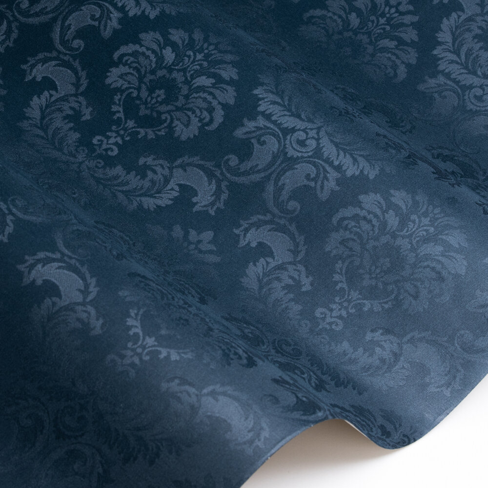 Feathered Damask Wallpaper - Navy - by Galerie