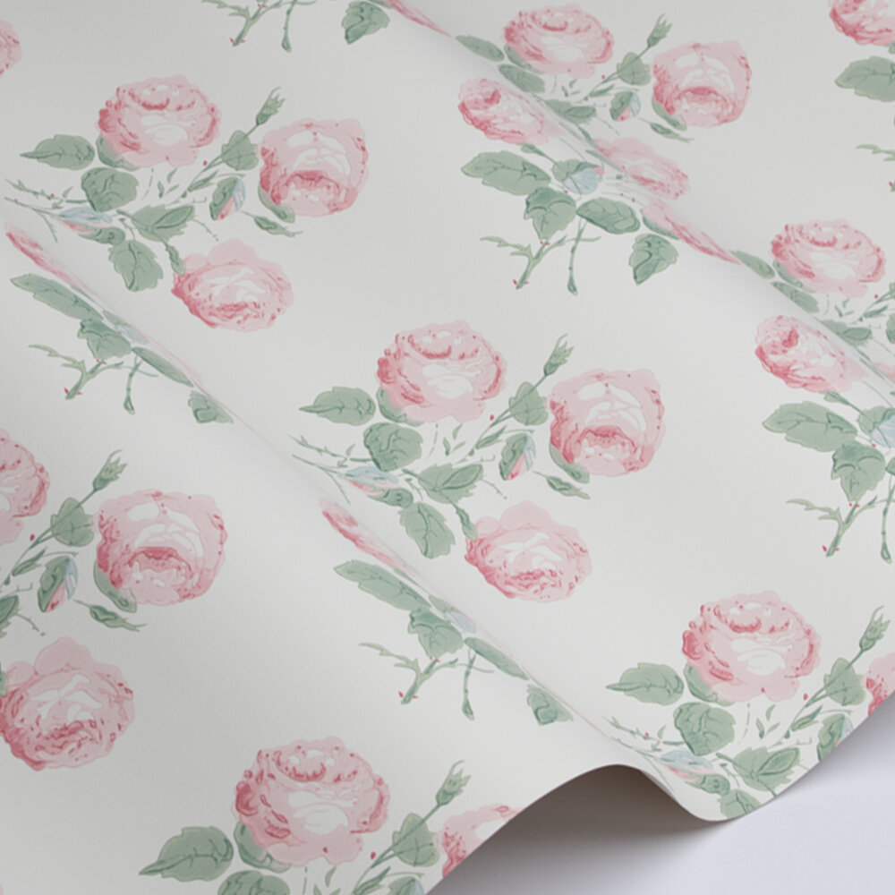 Bowood Wallpaper - Pink / Leaf - by Colefax and Fowler