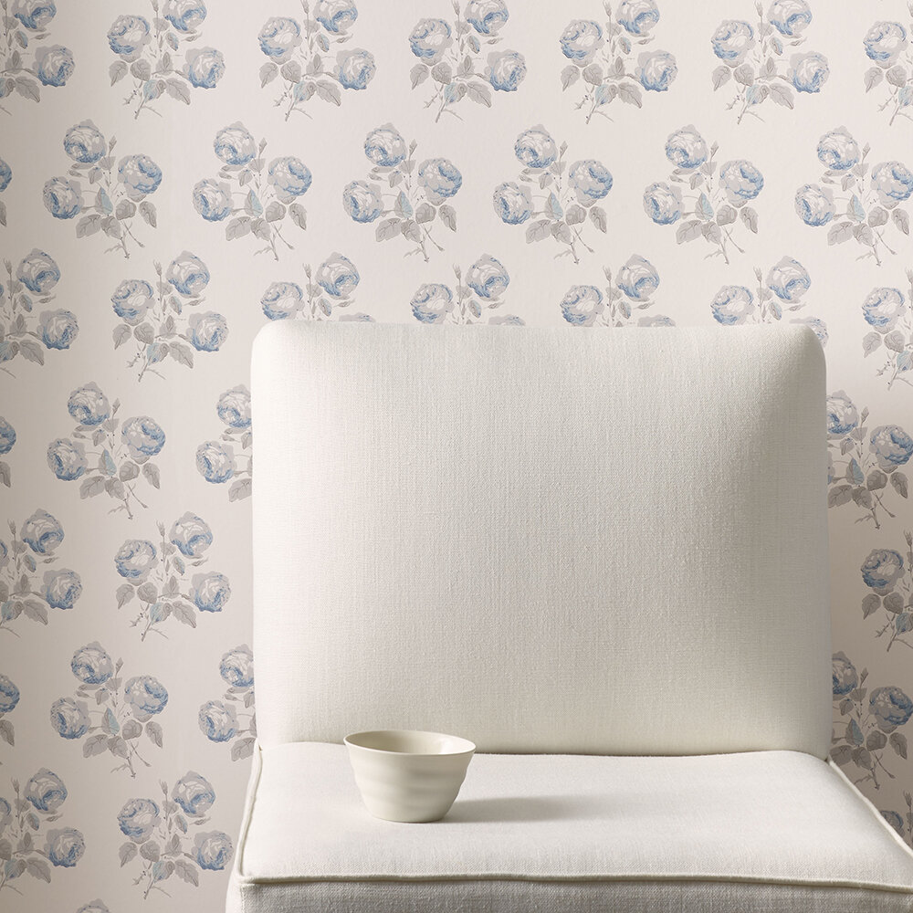Bowood Wallpaper - Blue / Grey - by Colefax and Fowler