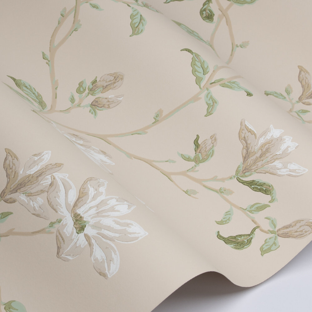 Marchwood Wallpaper - White / Sage - by Colefax and Fowler