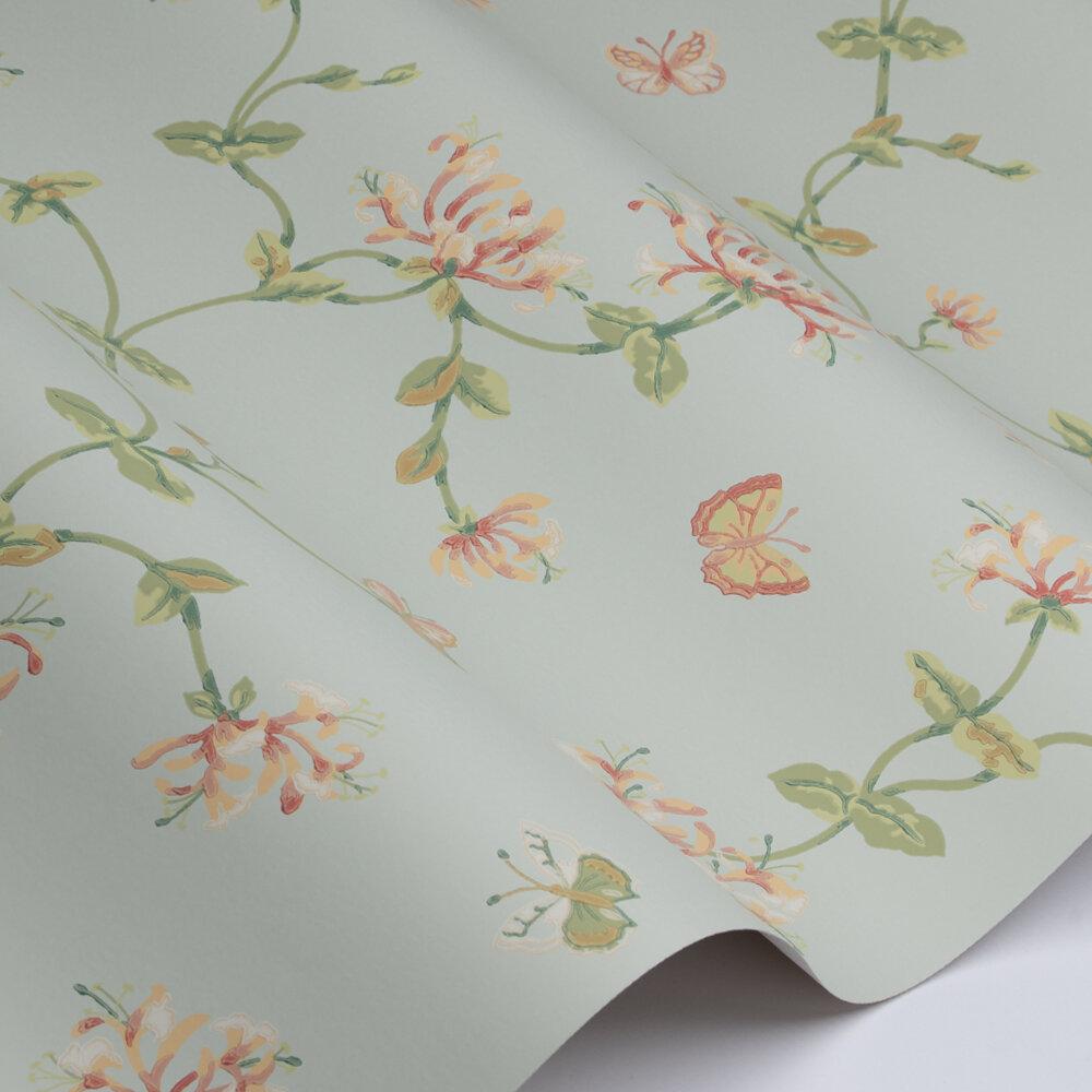 Honeysuckle Garden Wallpaper - Aqua - by Colefax and Fowler