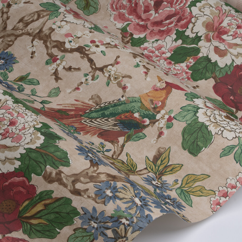 Jardine Wallpaper - Red / Green - by Colefax and Fowler