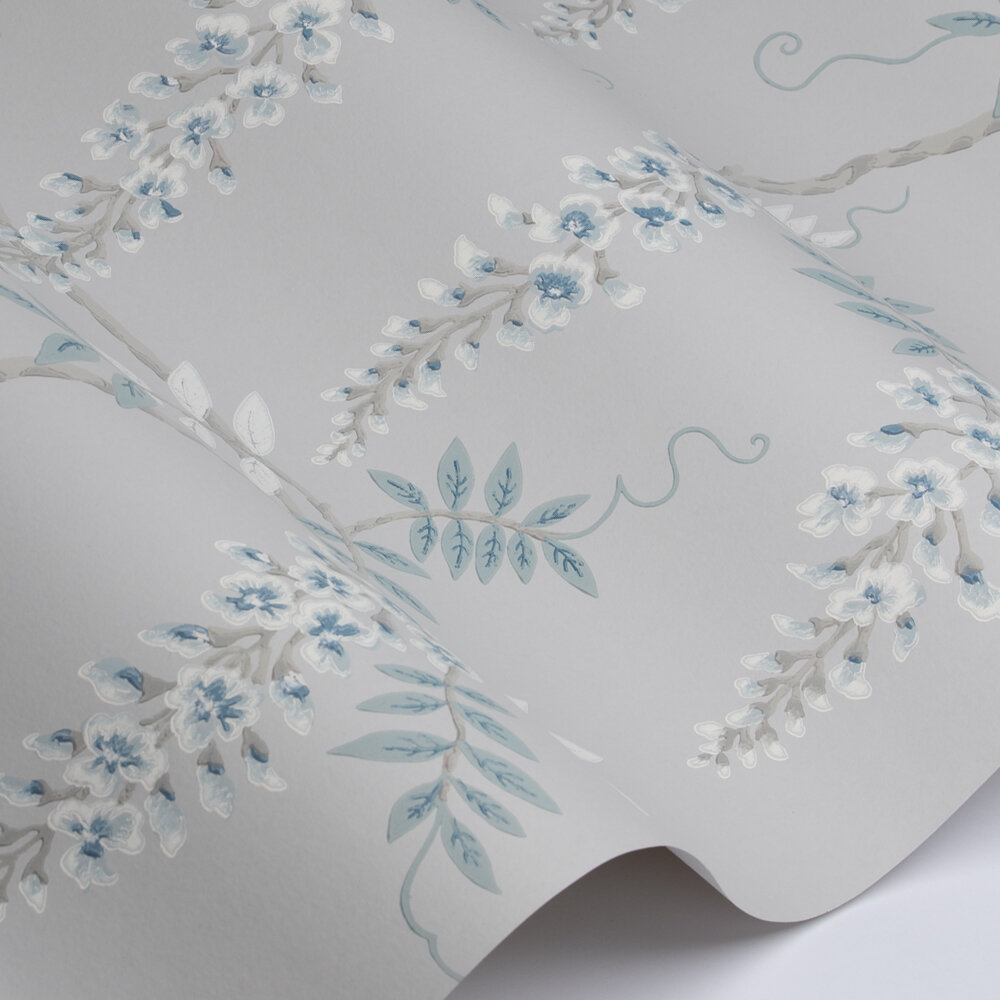 Grayshott Wallpaper - Silver Blue - by Colefax and Fowler