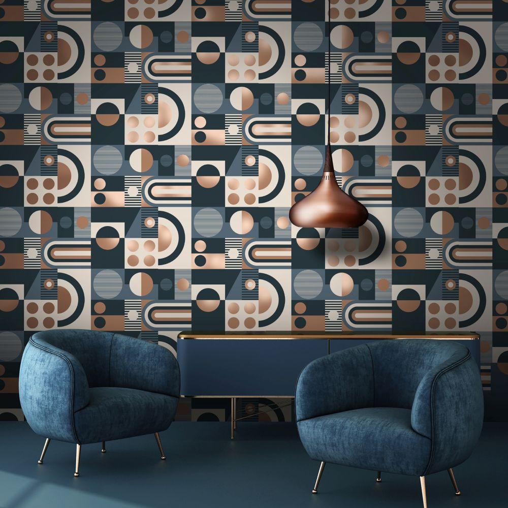 FAB! Wallpaper - Washed Denim - by Mini Moderns