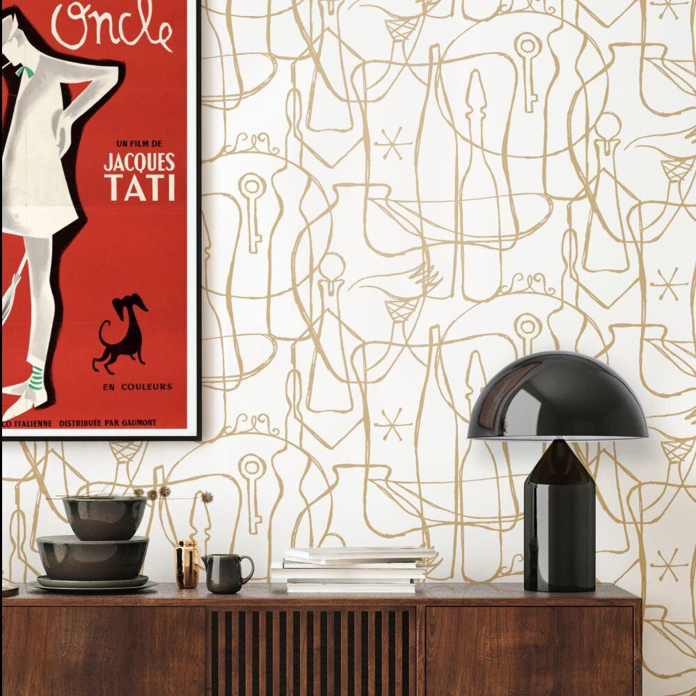Atelier Wallpaper - Snow & Gold - by Mini Moderns