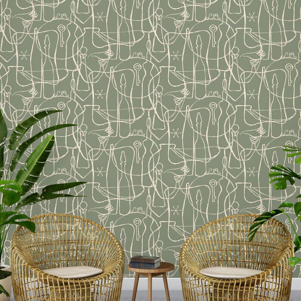 Atelier Wallpaper - Sage - by Mini Moderns