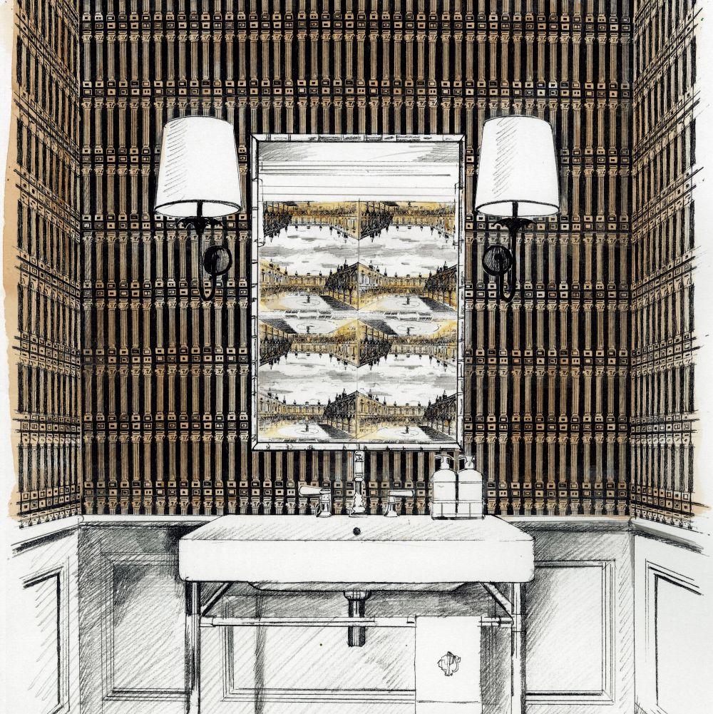 Columns Wallpaper - Vine Black / Antique Gold - by Zoffany
