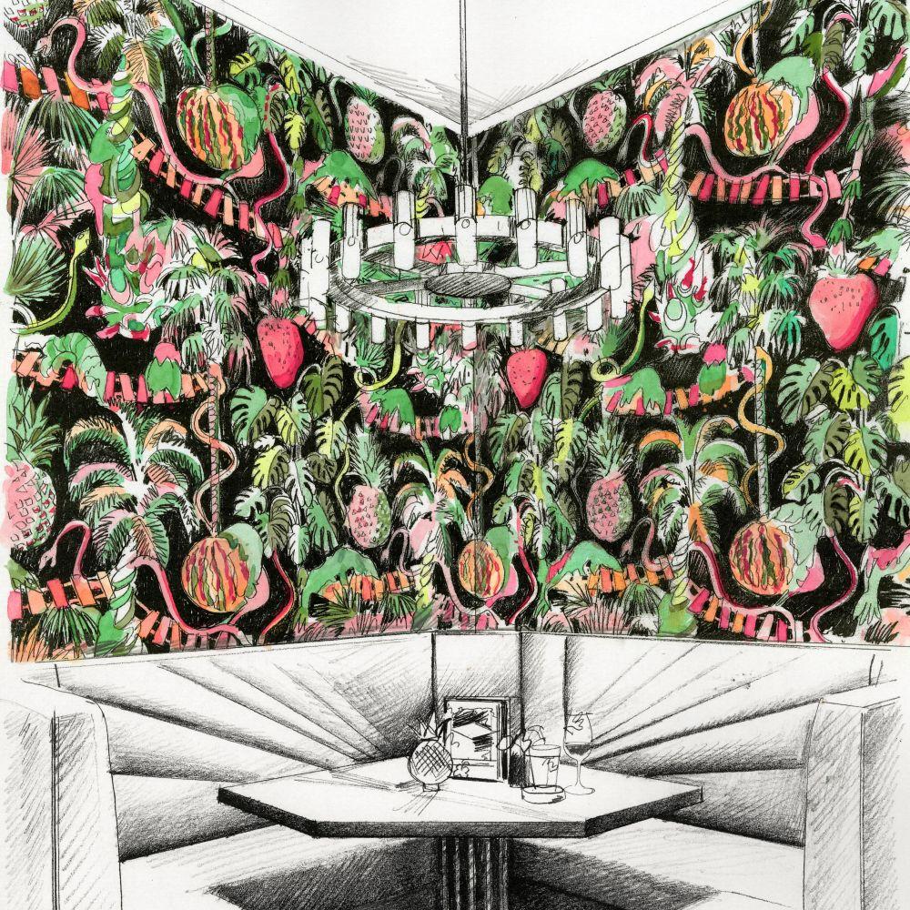 Precarious Pangolins  Wallpaper - Tropical - by Zoffany