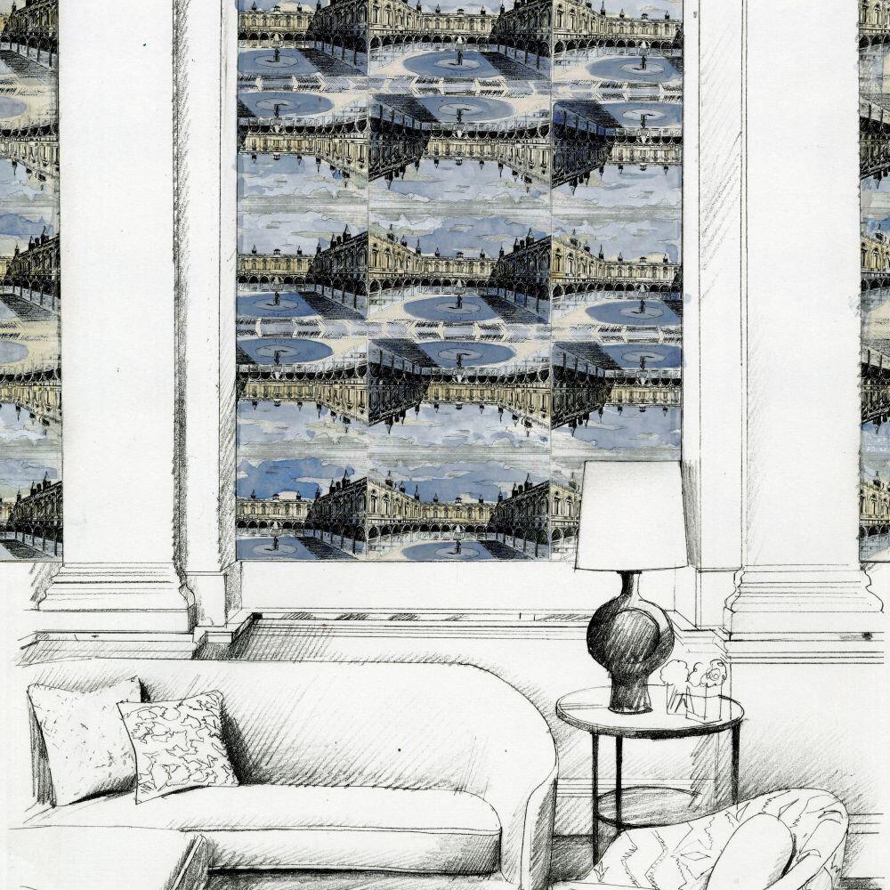 Royal Exchange Wallpaper - Taloyrs Grey / Platinum - by Zoffany
