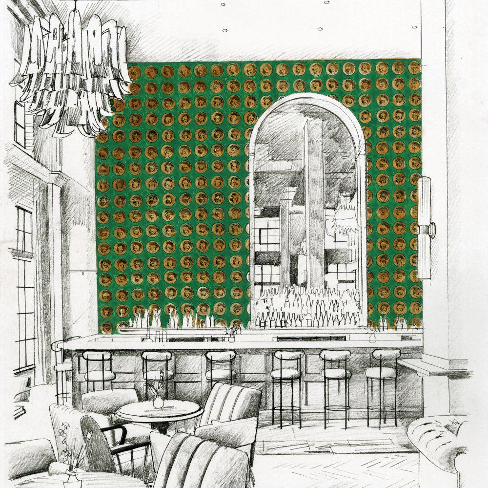 Medallion Wallpaper - Malachite / Gold - by Zoffany
