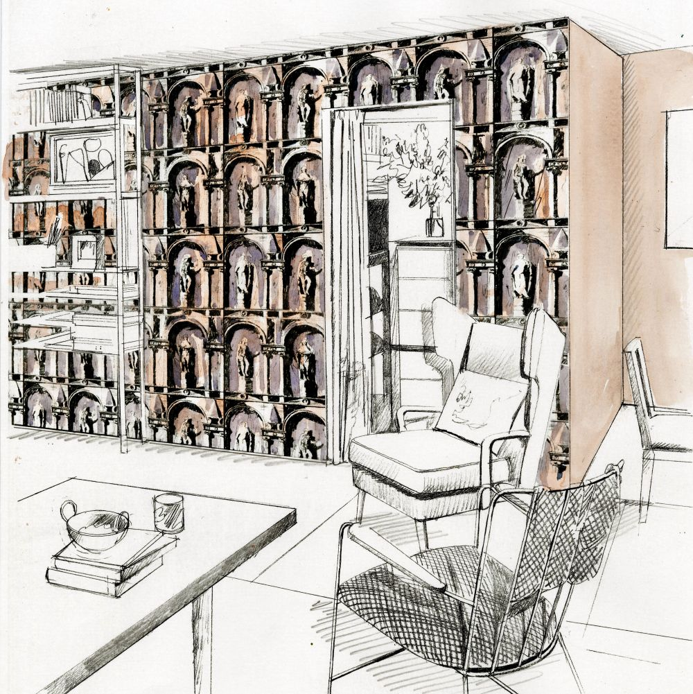 Montacute Wallpaper - Platinum Grey / Ink - by Zoffany