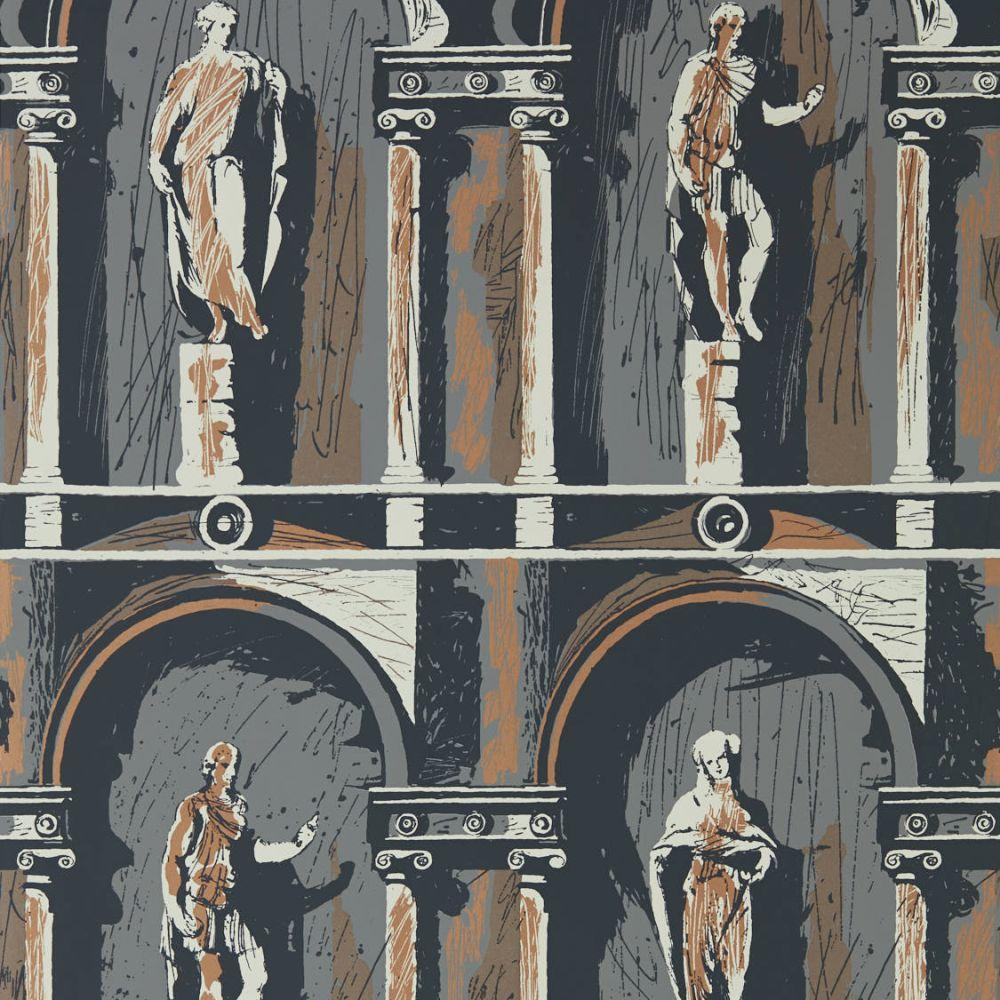Montacute Wallpaper - City Grey / Bone Black - by Zoffany