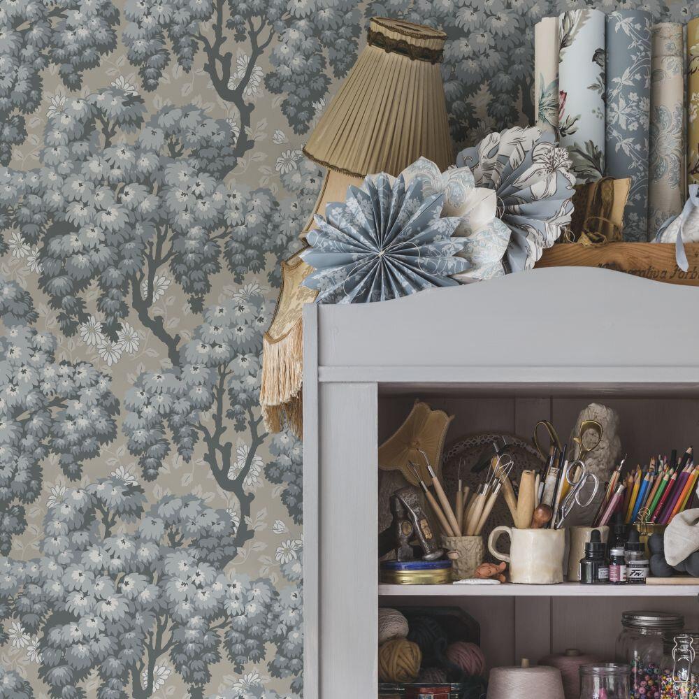 Ragnvi Wallpaper - Indigo Blue - by Sandberg