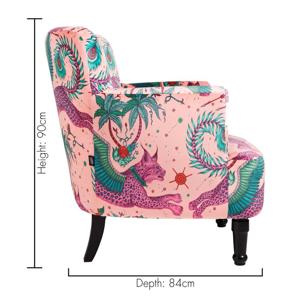 Dalston Chair - Lynx Armchair - Coral - by Emma J Shipley