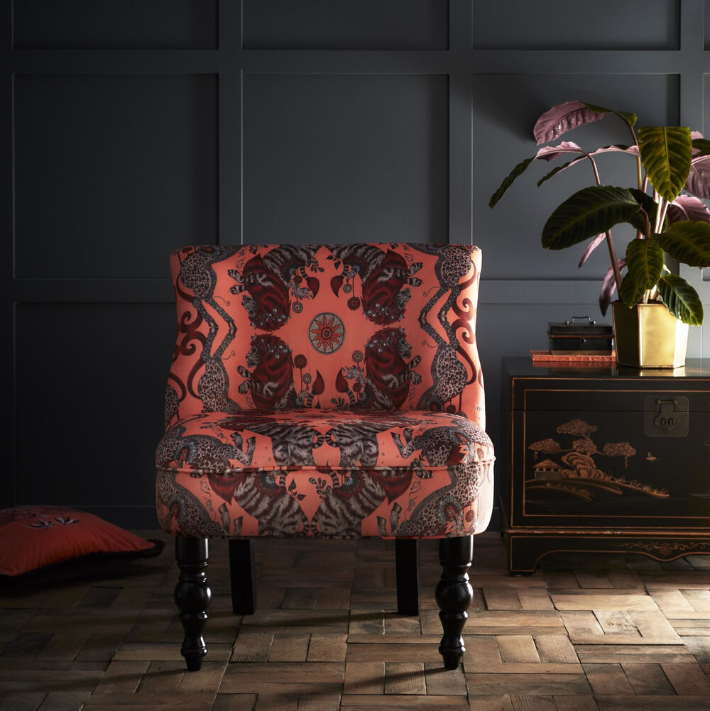 Langley Chair - Caspian  Armchair - Coral - by Emma J Shipley
