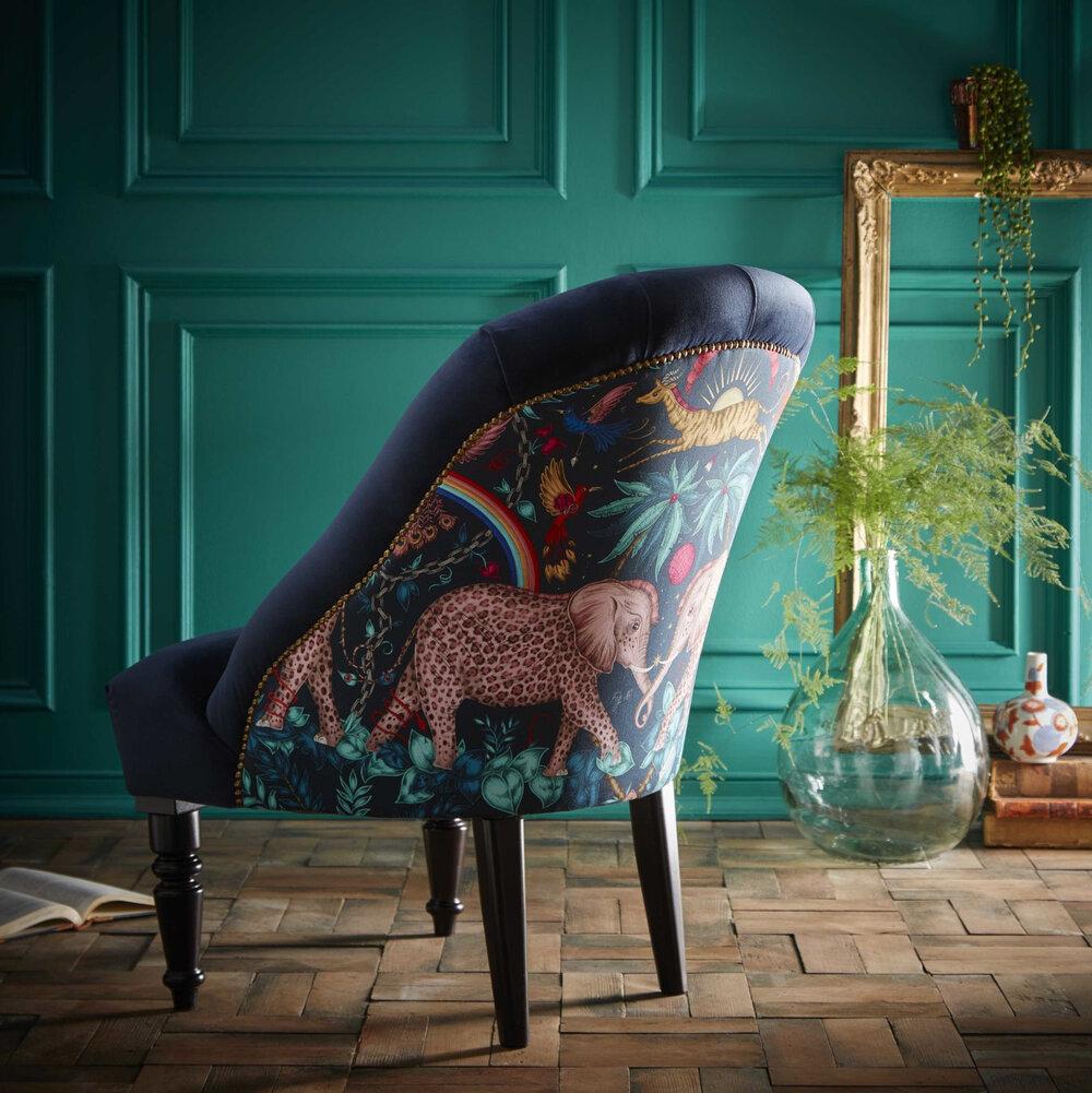 Soho Chair - Zambezi  Armchair - Navy - by Emma J Shipley