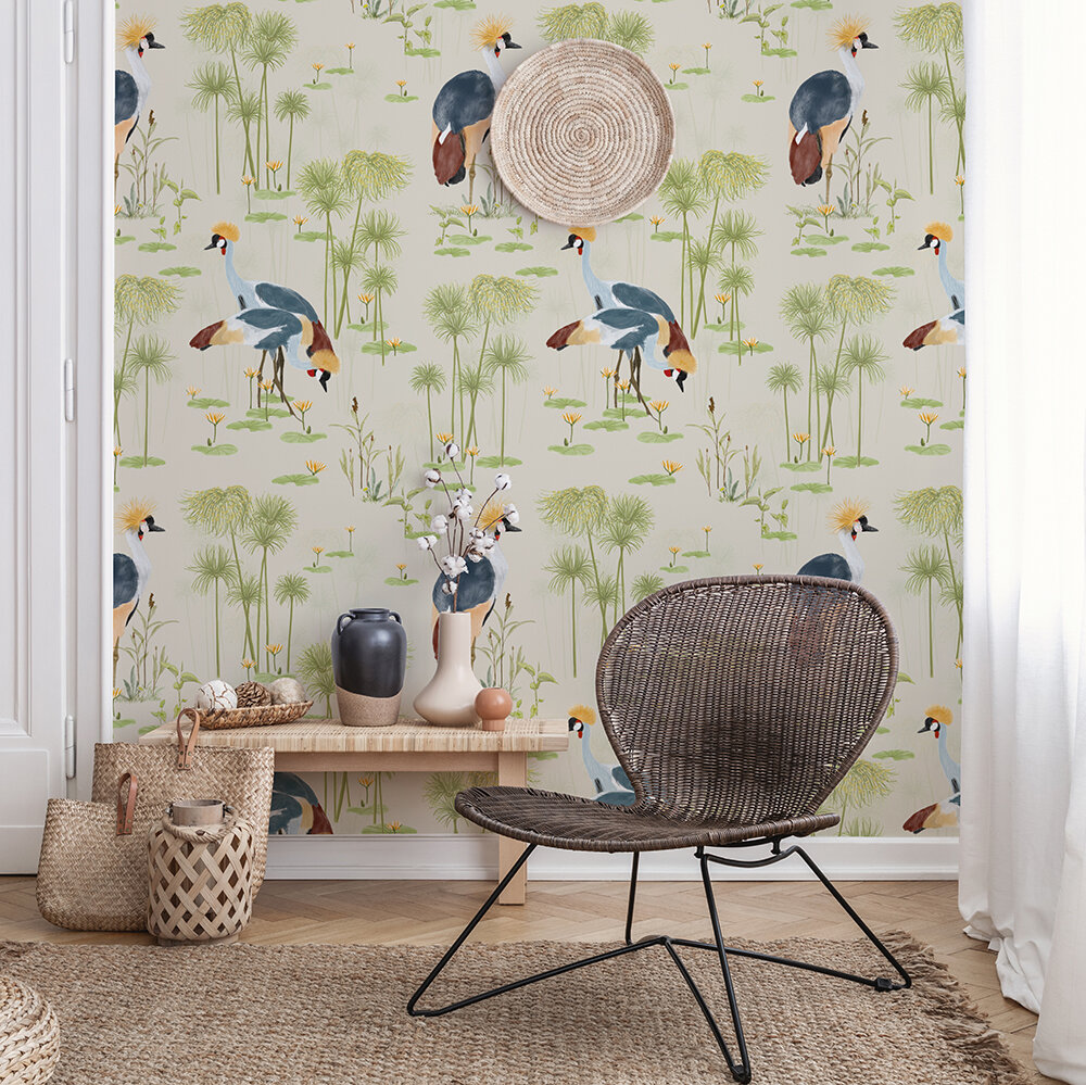 Cranes Wallpaper - Sand - by Petronella Hall