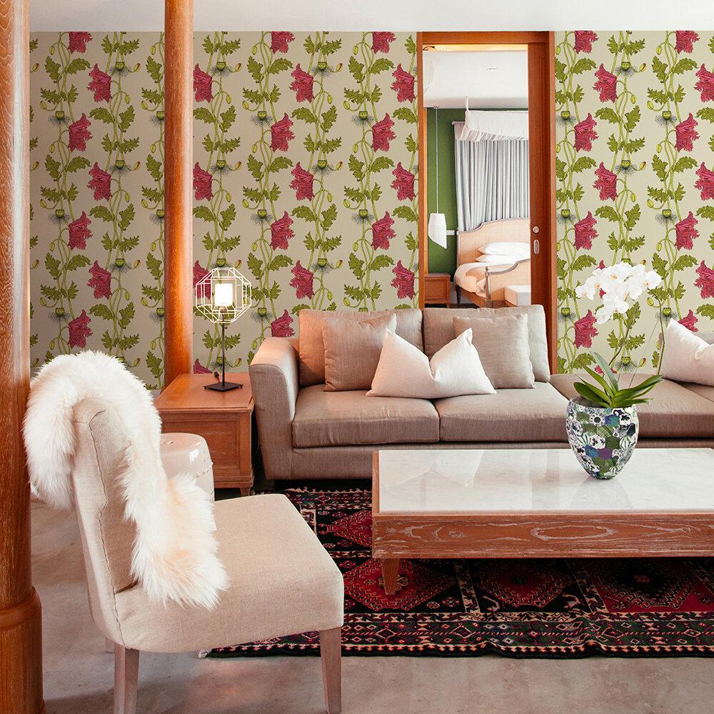 Poppy Wallpaper - Strawberry - by Petronella Hall