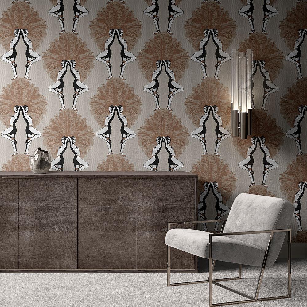 Showgirls Wallpaper - Cream Metallic - by Graduate Collection