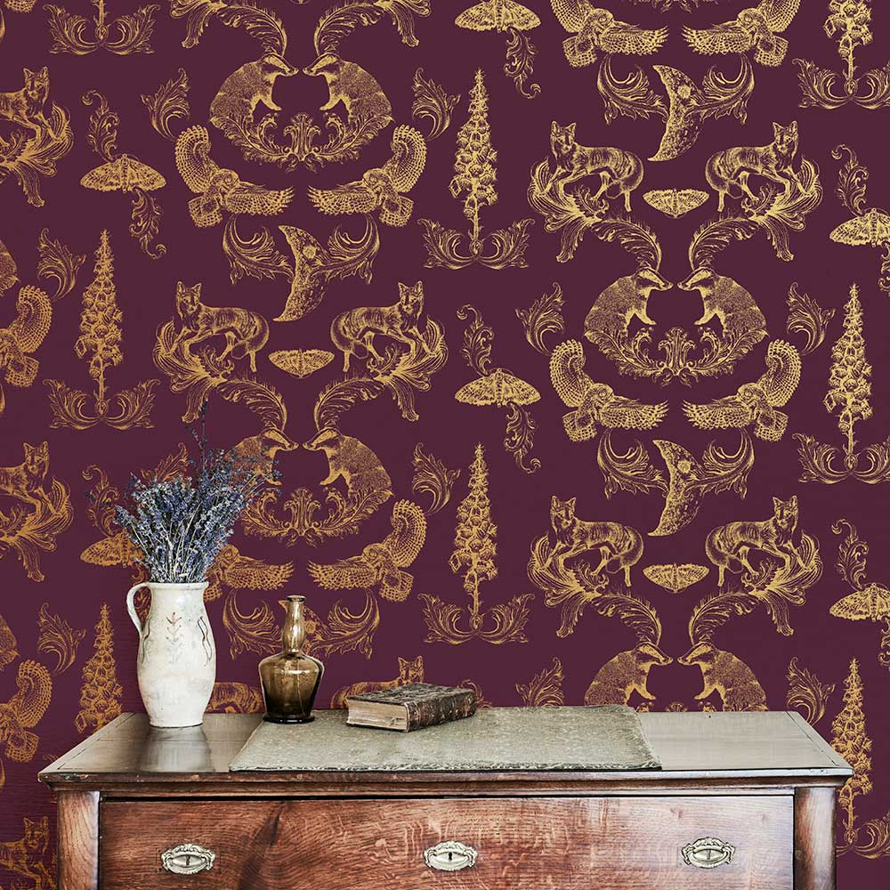 Dipped in Moonlight Wallpaper - Burgundy / Gold - by Graduate Collection