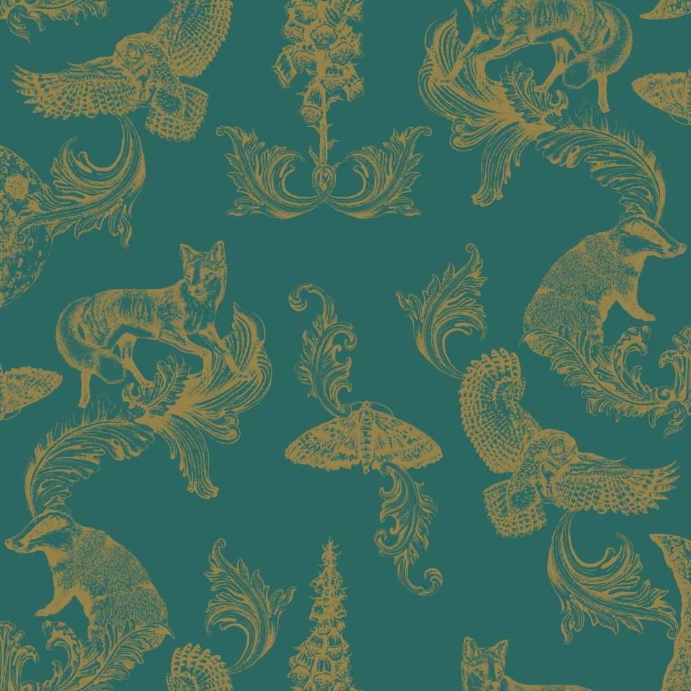 Dipped in Moonlight Wallpaper - Teal / Gold - by Graduate Collection