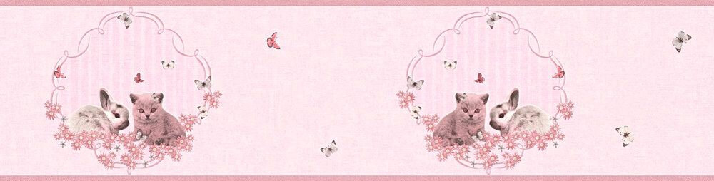 Bunny & Kitten Border - Pink - by Albany