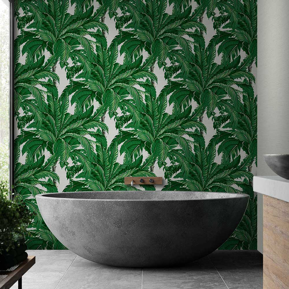 Daintree Palm Wallpaper - Pearl - by Graham & Brown