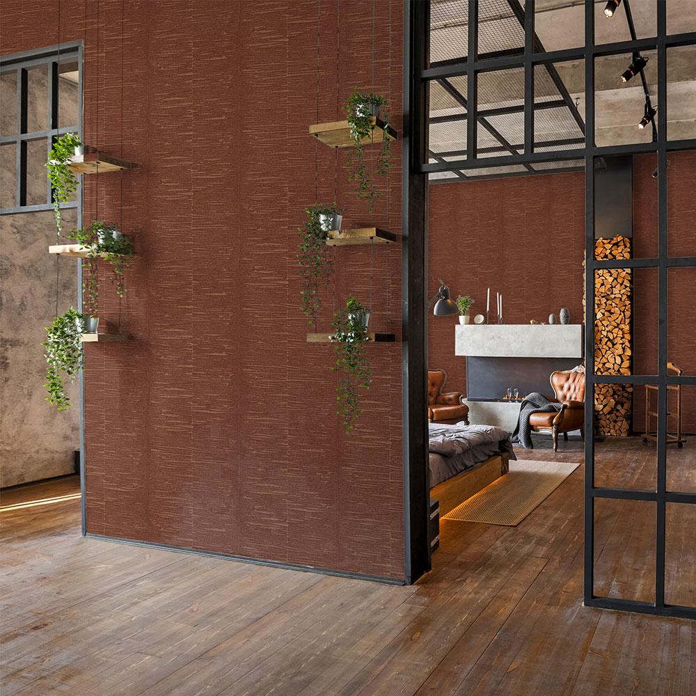 Oak Wallpaper - Red Brick - by Coordonne