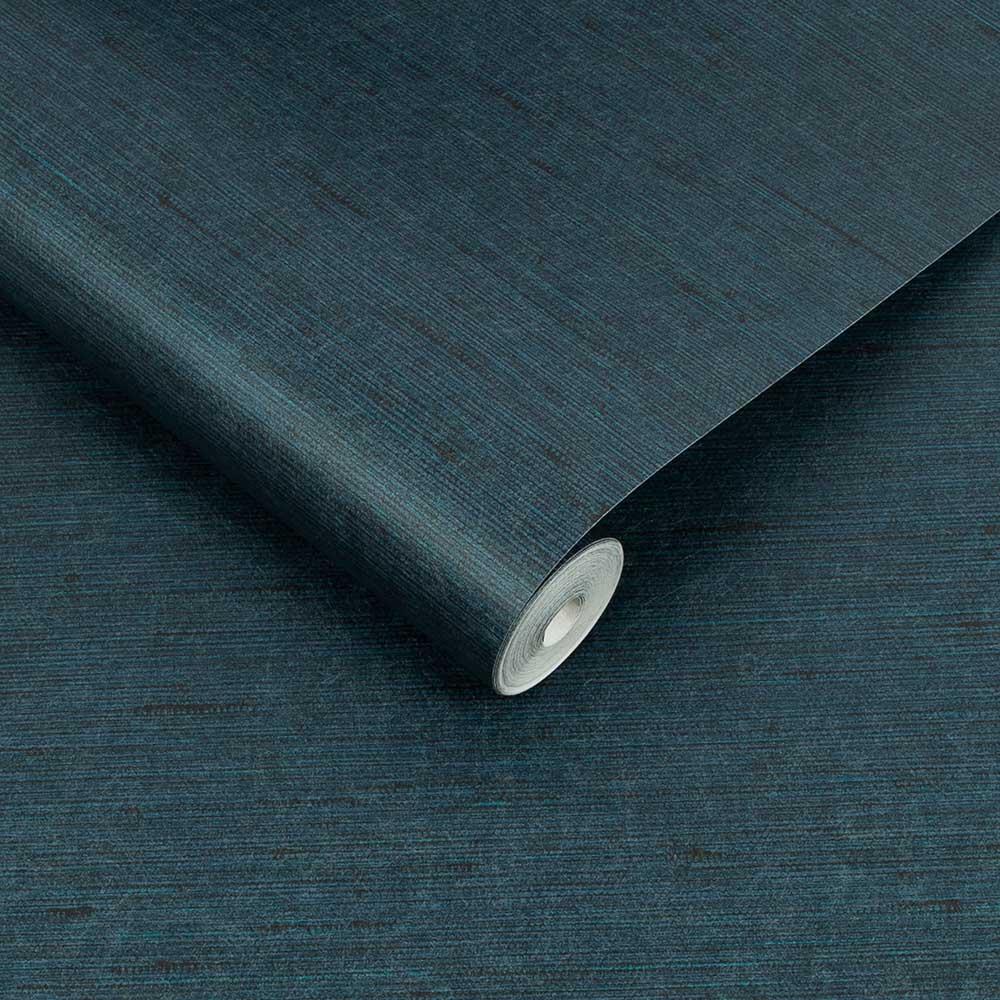 Silk Texture Wallpaper - Navy  - by Graham & Brown