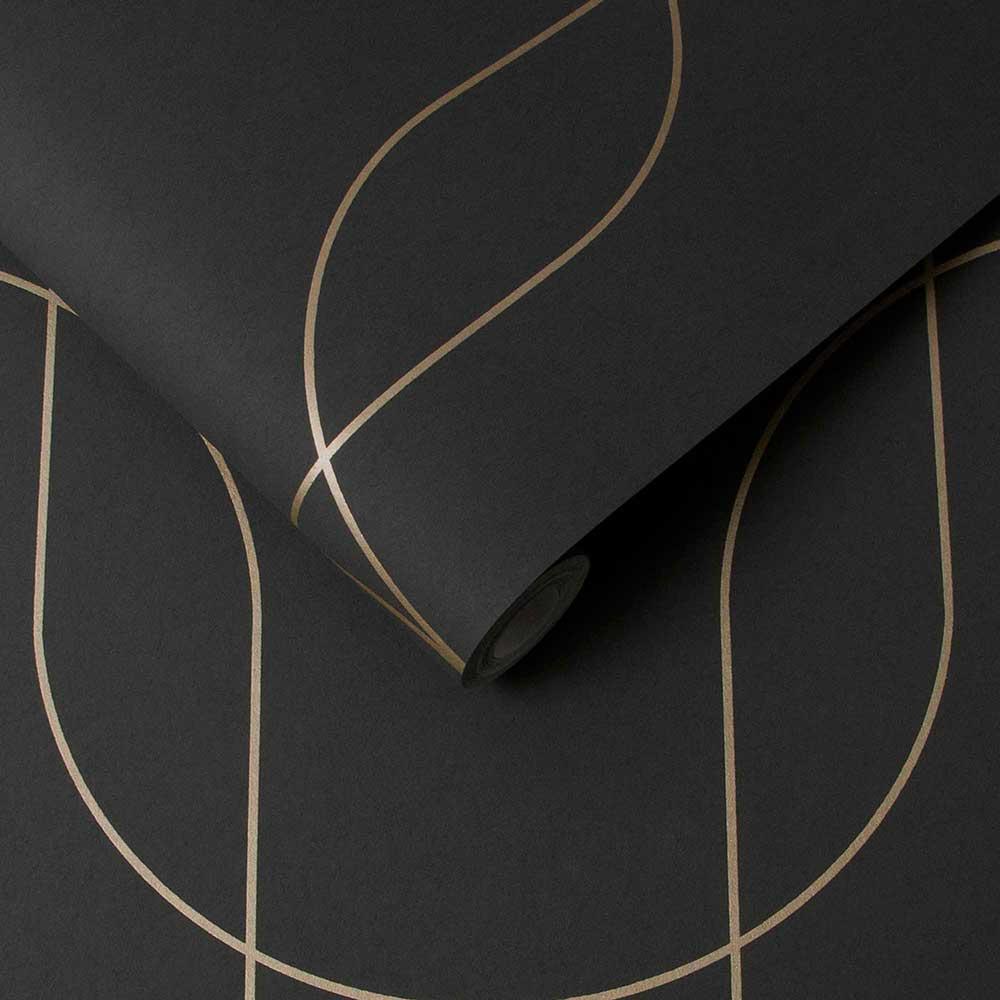 Palais Wallpaper - Black / Gold - by Graham & Brown