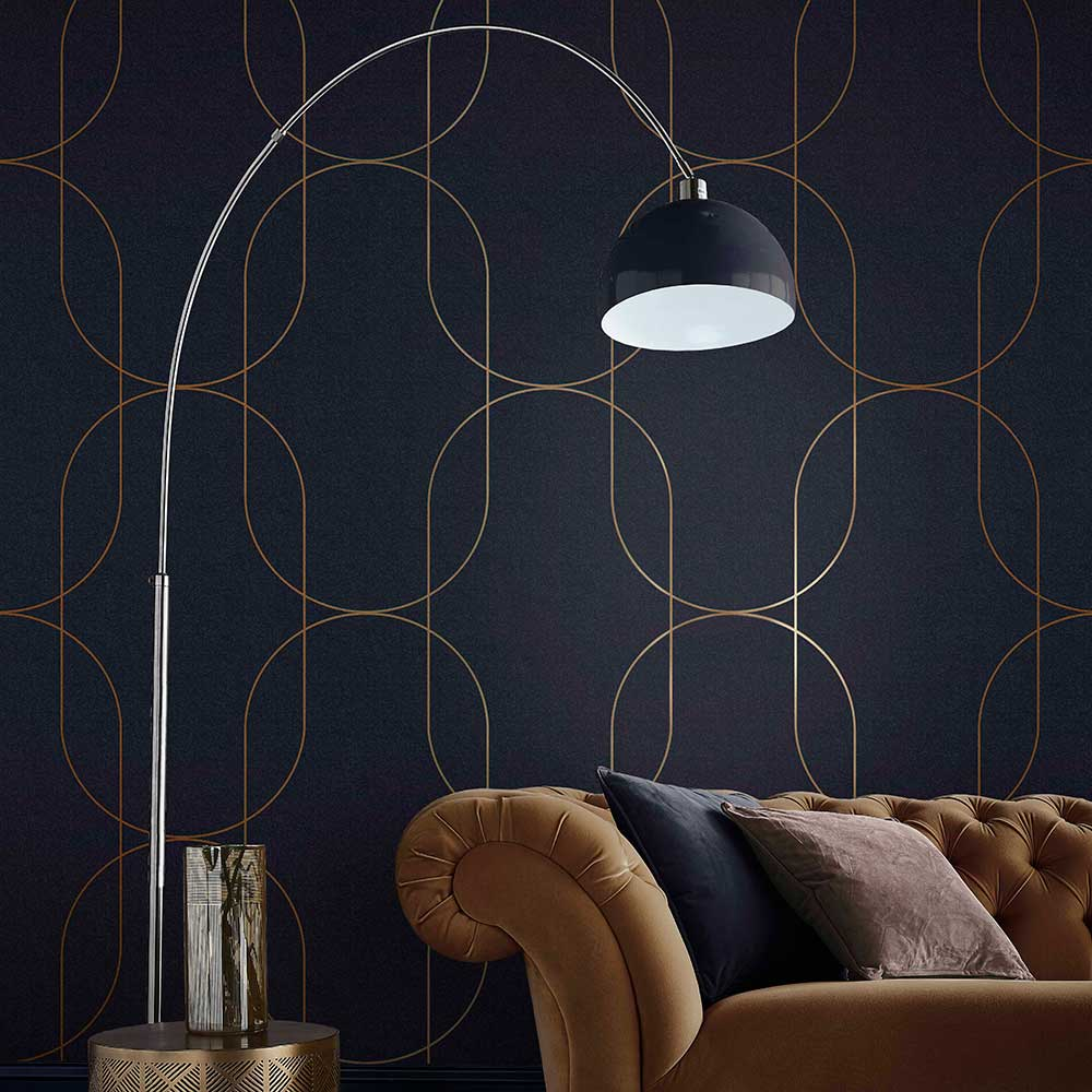 Palais Wallpaper - Navy / Copper - by Graham & Brown