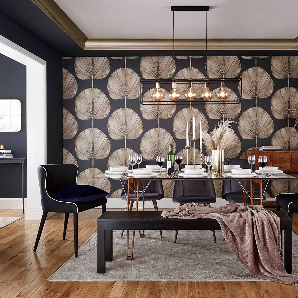 Palm Fan Wallpaper - Charcoal - by Graham & Brown