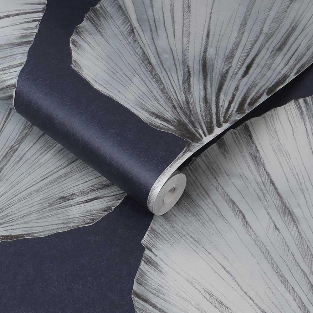 Palm Fan Wallpaper - Navy - by Graham & Brown