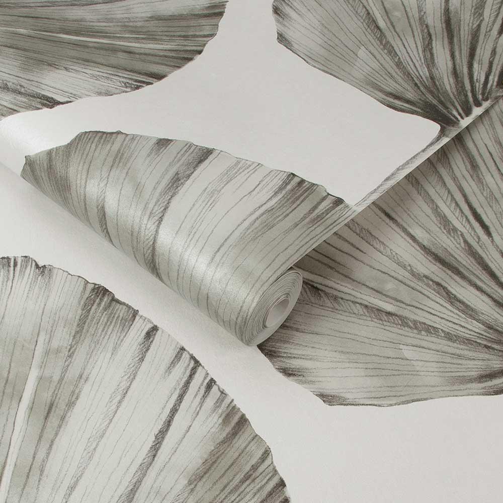 Palm Fan Wallpaper - Stone - by Graham & Brown