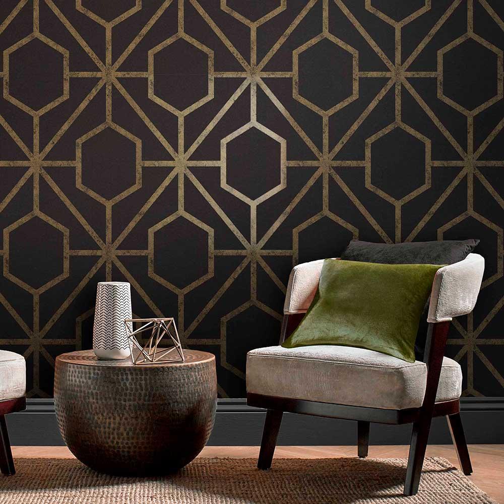 Rinku Wallpaper - Black / Gold - by Graham & Brown