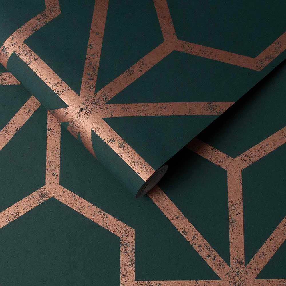 Rinku Wallpaper - Green / Copper - by Graham & Brown