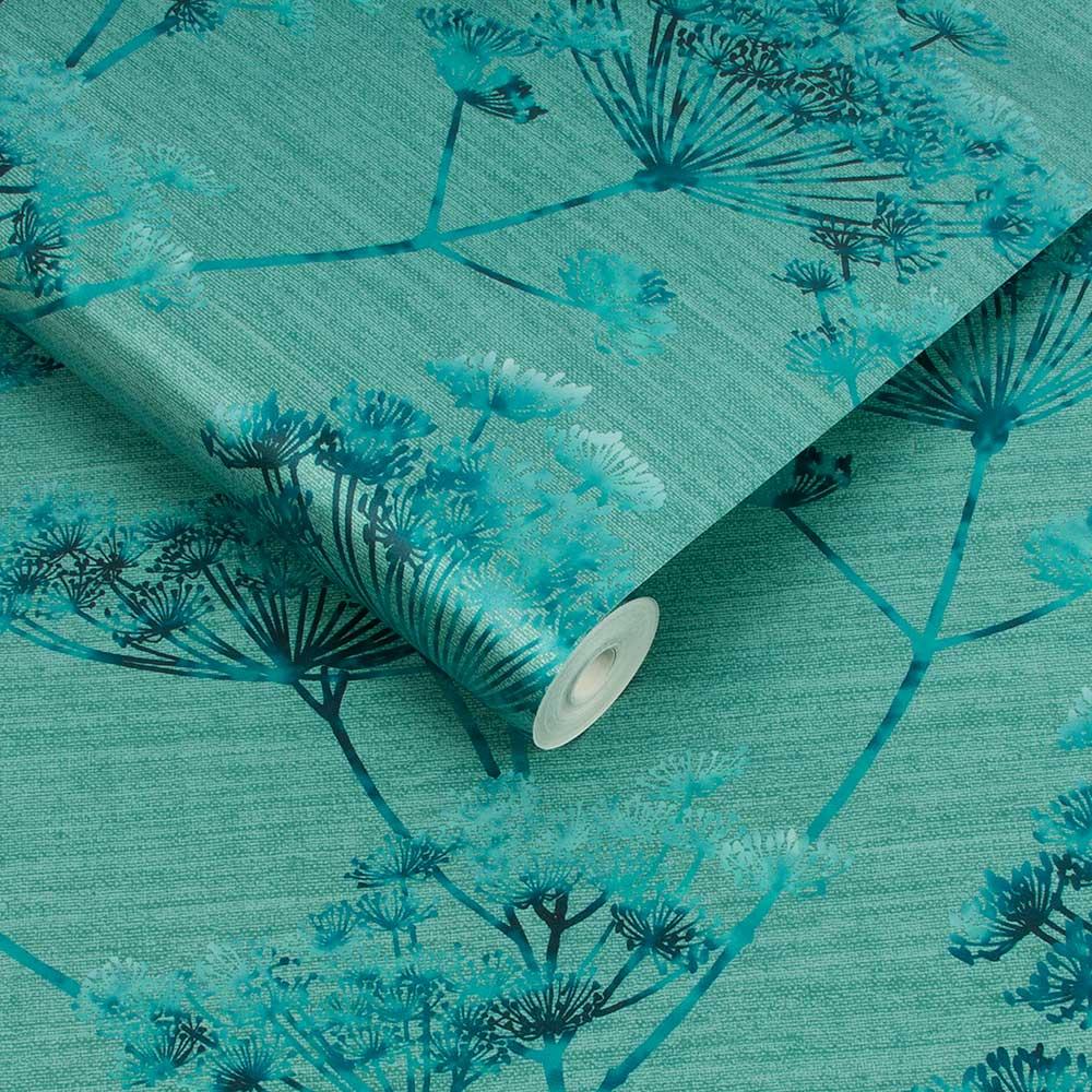 Hortus Wallpaper - Teal - by Graham & Brown