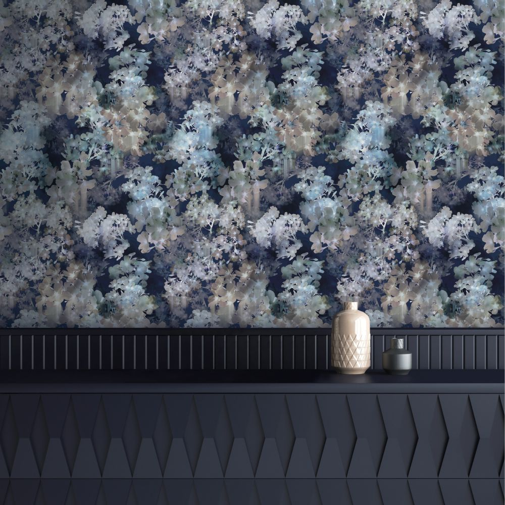 Vanilla Wallpaper - Navy - by Ted Baker