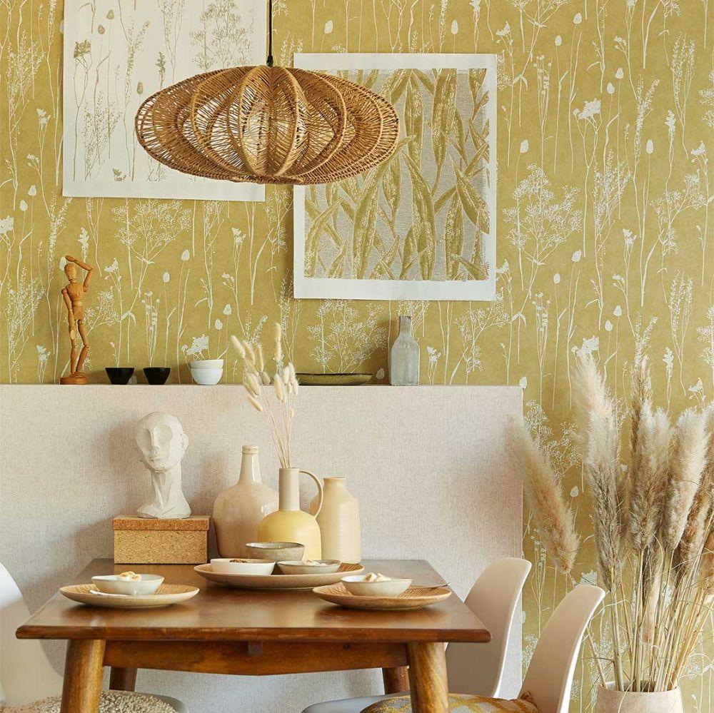 Dried Florals Wallpaper - Ochre - by Eijffinger