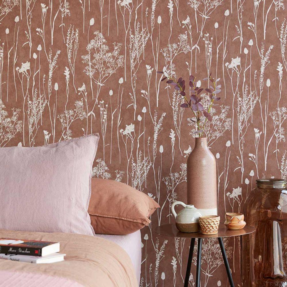 Dried Florals Wallpaper - Red - by Eijffinger