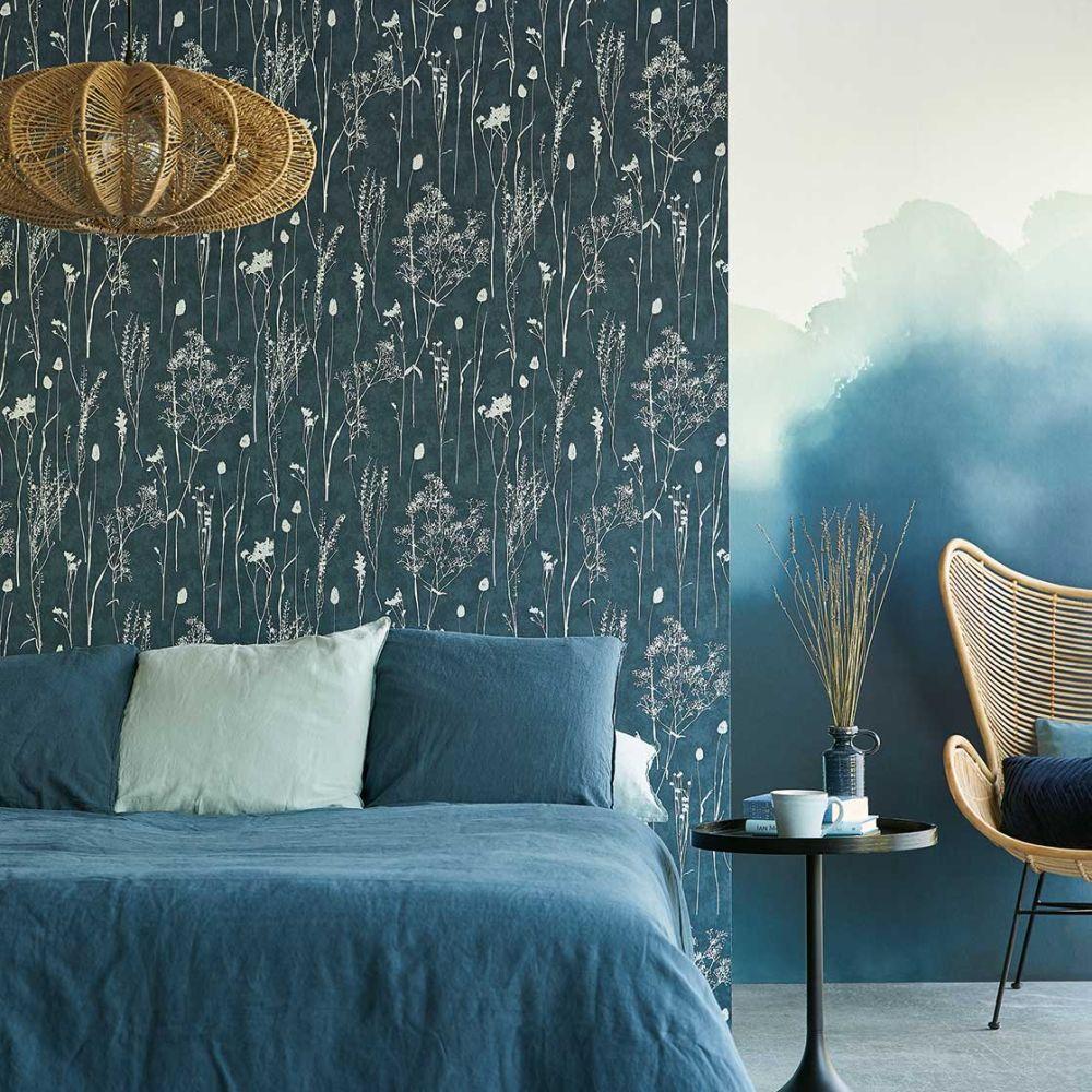 Dried Florals Wallpaper - Ink - by Eijffinger