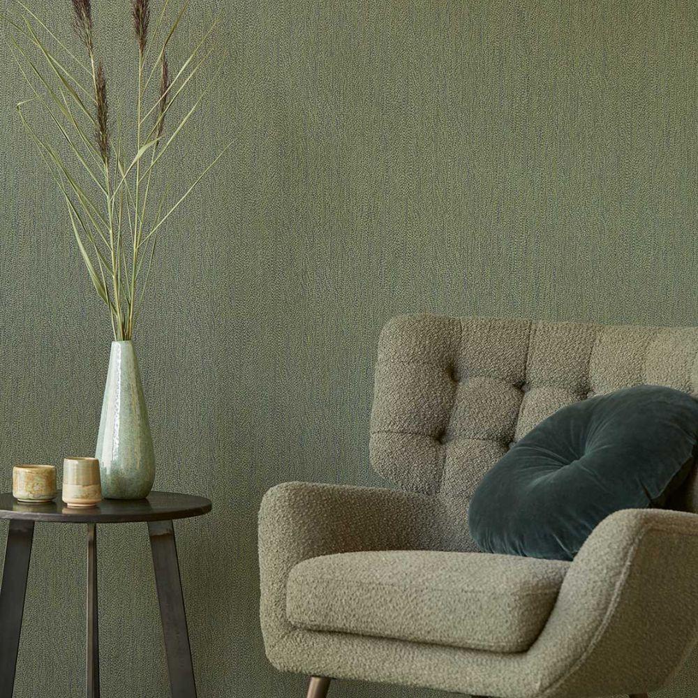 Textured Plain Wallpaper - Dark Green - by Eijffinger