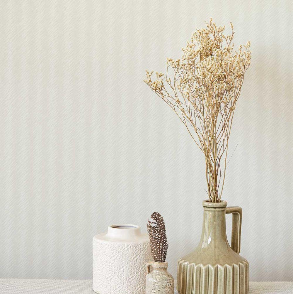 Natural Stripe Wallpaper - Beige - by Eijffinger