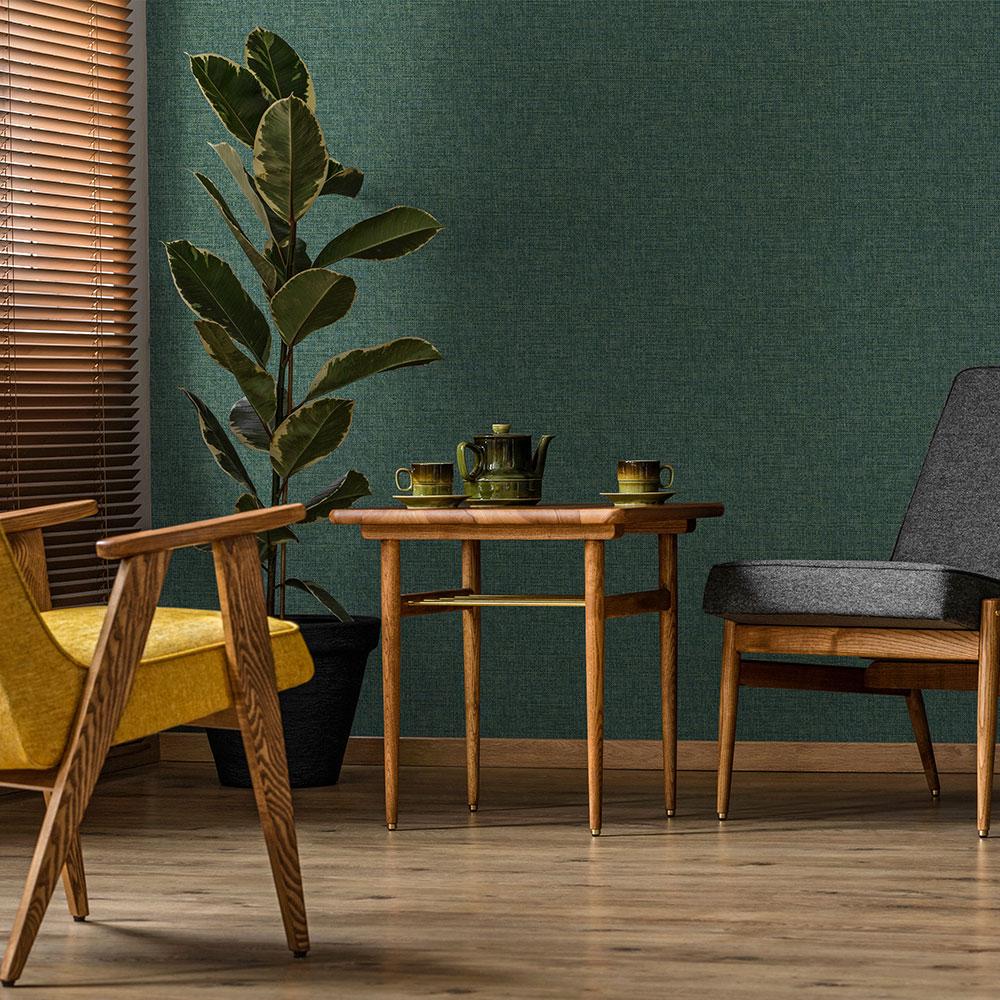 Yute Wallpaper - Emerald - by Coordonne