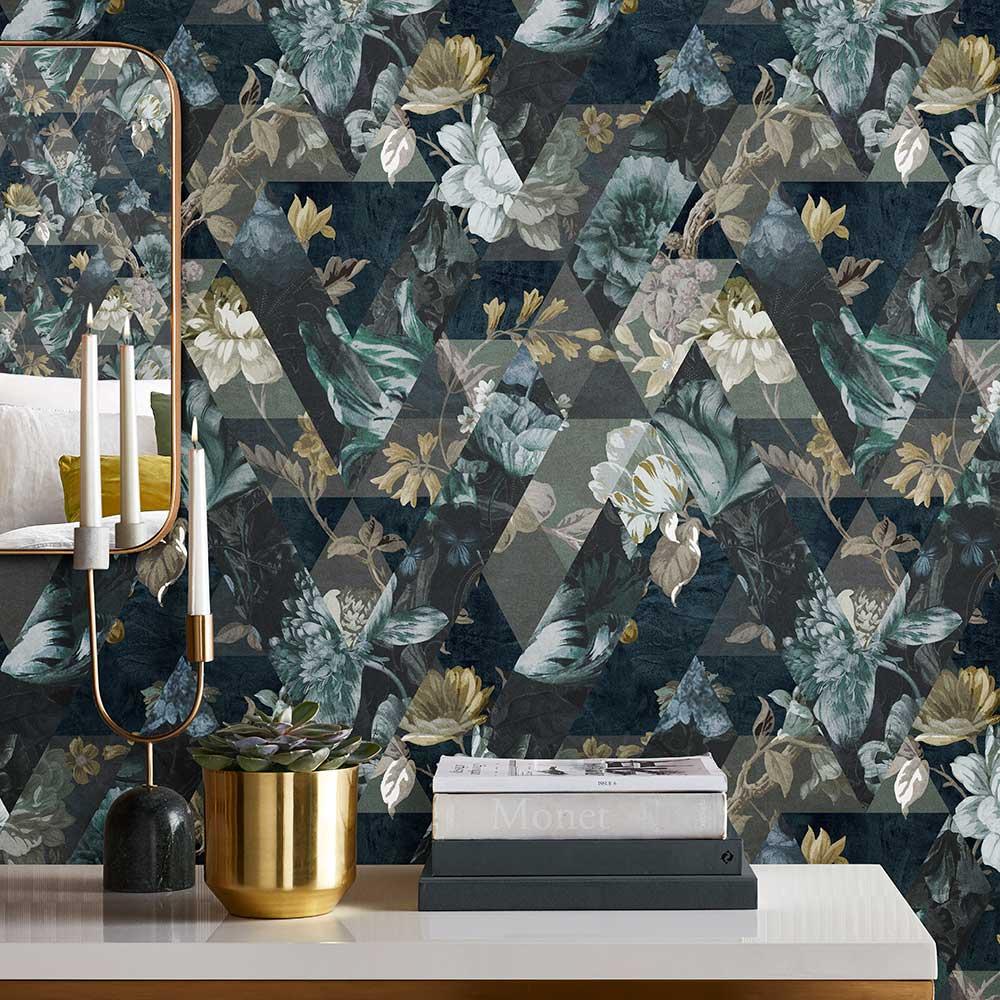 Timepiece Wallpaper - Midnight - by Graham & Brown