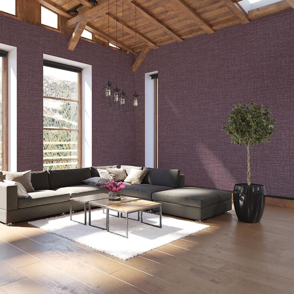 Tweed Wallpaper - Purple Gold - by Coordonne