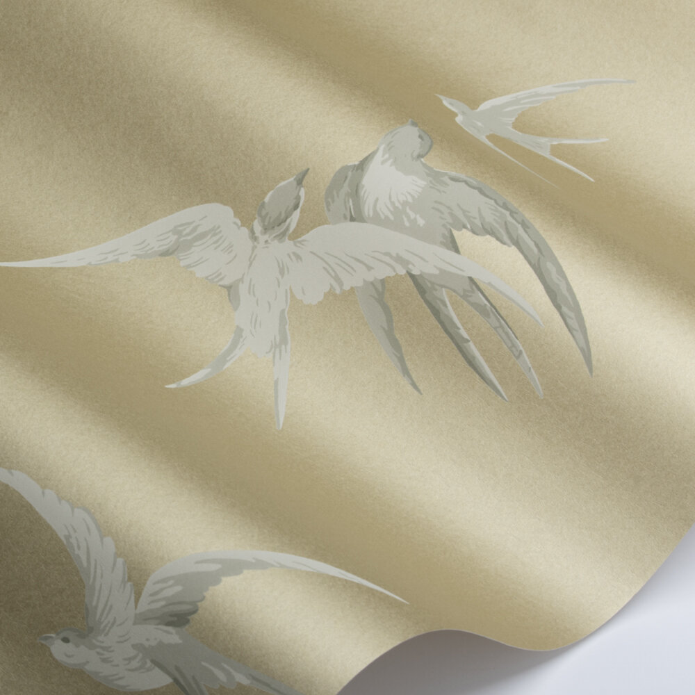 Swallows Wallpaper - Gold - by Sanderson