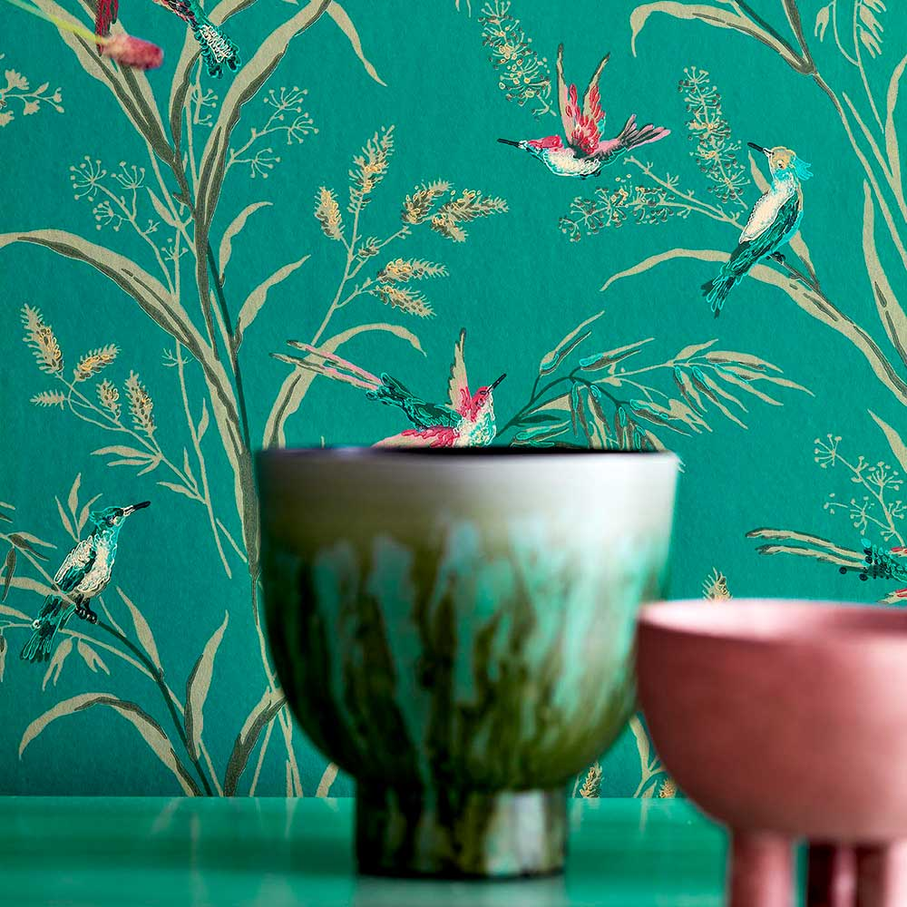 Tuileries Wallpaper - Eucalyptus / Multi - by Sanderson